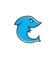 little cartoon shark icon angry fish in a flat vector image vector image