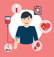 Man donates blood Blood donation icons flat style vector image