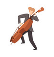man playing cello male musician contrabassist vector image