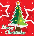 Merry Christmas tree postcard vector image vector image