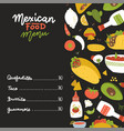 mexican food menu on black backdrop decorated vector image