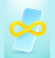 modern smartphone with infinity sign 3d comic vector image vector image