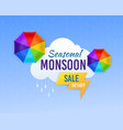 monsoon sale season rainy and umbrella vector image