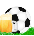mug of beer and a soccer ball vector image