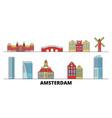 netherlands amsterdam city flat landmarks vector image vector image