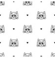 pattern with cute cats and hearts vector image vector image