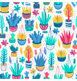 pattern with hand drawn pots vector image vector image