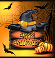 pumpkins hat on the box and bats in the basement vector image vector image