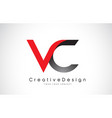 red and black vc v c letter logo design creative vector image vector image
