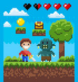 screen pixel game knight hero and geek vector image vector image