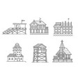 seaside buildings set vector image vector image