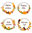set autumn isolated frames vector image vector image