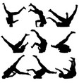 set black silhouettes breakdancer on a white vector image vector image
