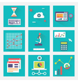 set business charts with long shadows vector image vector image