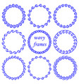 set of round wavy blue frames on white background vector image vector image