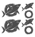 set of shark in the lifeline vector image