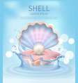 shell elegant poster with text vector image vector image
