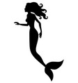 silhouette of mermaid vector image vector image