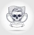 sketch skull american football vector image vector image