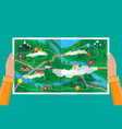 suburban paper nature map gps and navigation vector image vector image