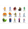 Superheroes in Different Poses and Costumes vector image vector image