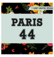 t-shirt floral paris graphic with maple leaves vector image vector image