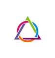 triangle round connect colorful logo vector image vector image