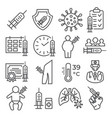 vaccine line icons set on white background vector image vector image