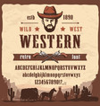 western font type wild west style letters numbers vector image