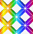 White rectangles ornament on rainbow background vector image