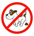 a sign that forbids walking with dogs vector image