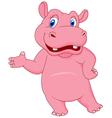 Cartoon hippo presenting vector image