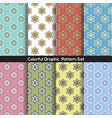 set of 8 vintage flowers graphic pattern vector image