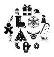 16 christmas black icons set vector image