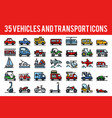 35 vehicle and transport outline color icons sign vector image vector image