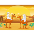 Arabs riding on camels at desert vector image