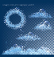 big collection with soap foam and bubbles on vector image vector image