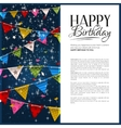 birthday card with confetti and bunting flags vector image vector image