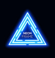 blue neon light triangles shining techno frame vector image