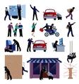 Burglar Flat Icons Set vector image vector image