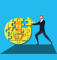 business man with puzzle pieces in shape circle vector image vector image