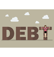Business woman crucified on debt vector image vector image