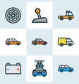 car icons colored line set with carwash crossover vector image vector image