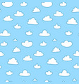 cartoon clouds on blue sky seamless pattern vector image vector image