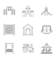 Children rides icons set outline style vector image vector image