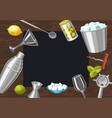 cocktail bar background essential tools vector image vector image