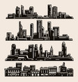 collection city silhouettes vector image vector image