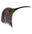 colored hummingbird head vector image vector image