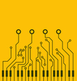Combined circuit board and piano keys vector image