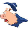Cute Pig in Superhero Cartoon vector image vector image